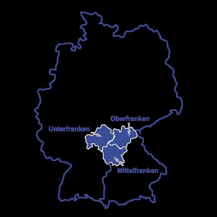 Über Uns: Unser Einsatzgebiet umfasst Unterfranken, Oberfranken und Mittelfranken